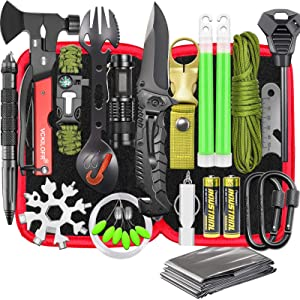 Gifts for Men Dad Husband, Professional Camping Survival Gear and Equipment Kit 32 in 1, Cool Gadgets Stuff Tactical First Aid Supplies Tools for Outdoor Fishing Hiking Hunting Adventures