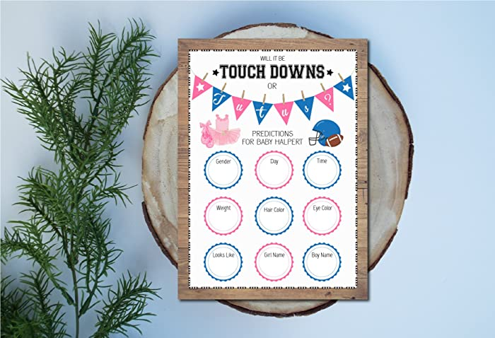 photo relating to Gender Reveal Games Printable named : Gender Make clear Prediction Playing cards Touchdowns or