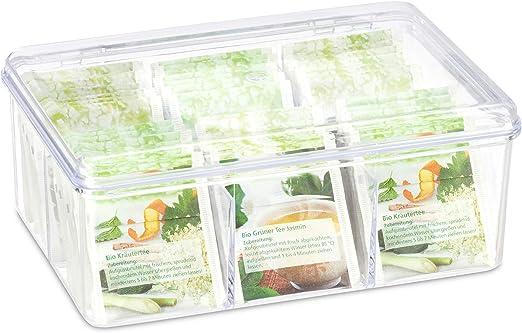 Relaxdays Caja para té e infusiones, Seis Compartimentos, para 90 ...