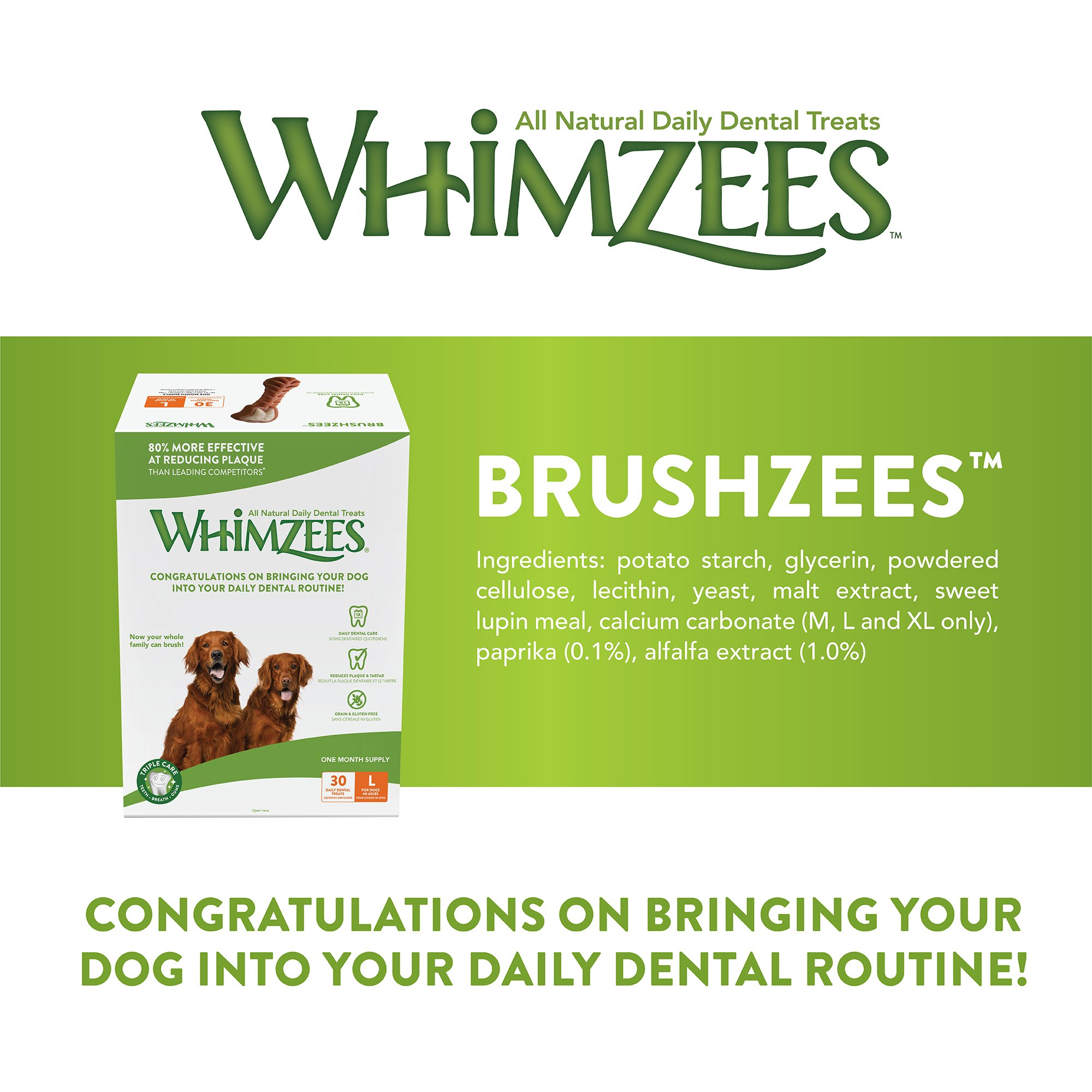 Whimzees 30 Day Pack Dog Dental Treats, Large Brushzees, Pack Of 30 by Whimzees (Image #3)