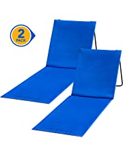 Two Beach Chairs with Backrest - 2-Pack Lounger - Comfortable, Lightweight, Portable and Easy to Carry Around - Use Also As Picnic Or Park Chair