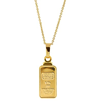 dfef79cc1f68a American Coin Treasures 1 Gram Swiss Ingot Replica Pendant Layered in 24KT  Gold