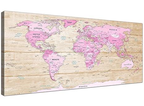 Grande rosa crema mappa del mondo Atlas stampa artistica da parete ...