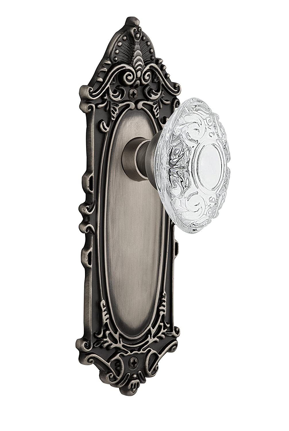 Nostalgic Warehouse 754044 Plate with Crystal Victorian Double Dummy Door Knob Antique Brass Surface Mounted