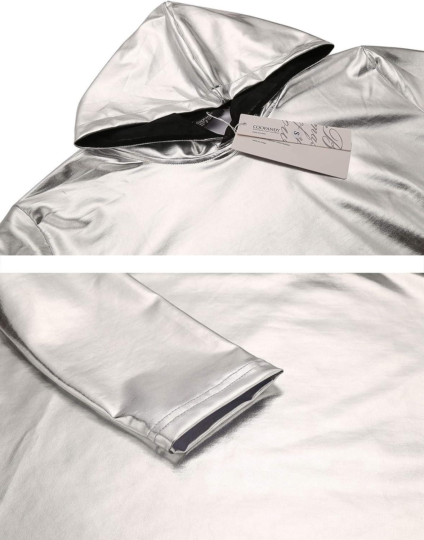 COOFANDY Mens Nightclub Style Metallic Shiny Long Sleeve Pullover Hoodie