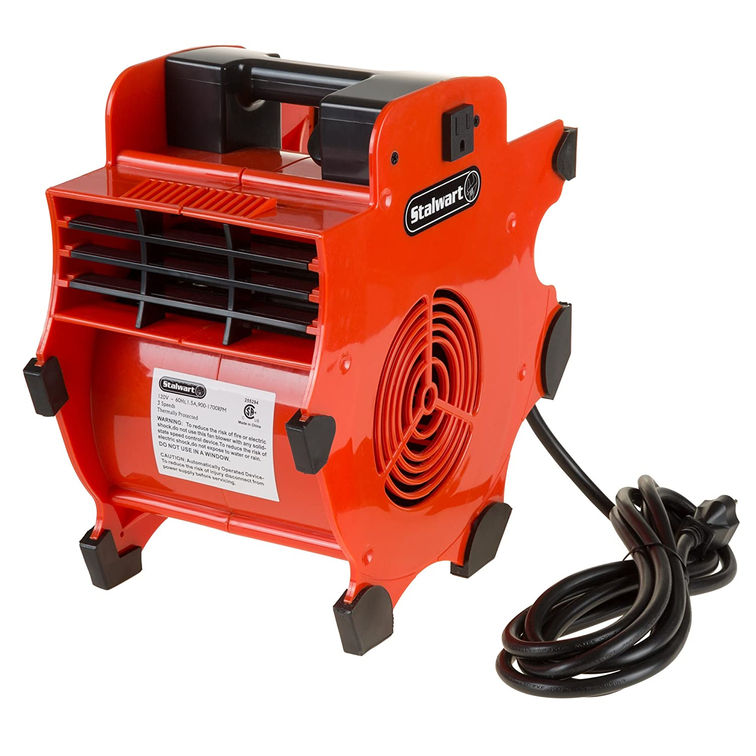 Portable Adjustable Industrial Fan Blower- 3 Speed Heavy Duty Mechanics Floor and Carpet Dryer By Stalwart Trademark Global 75-CAR1034