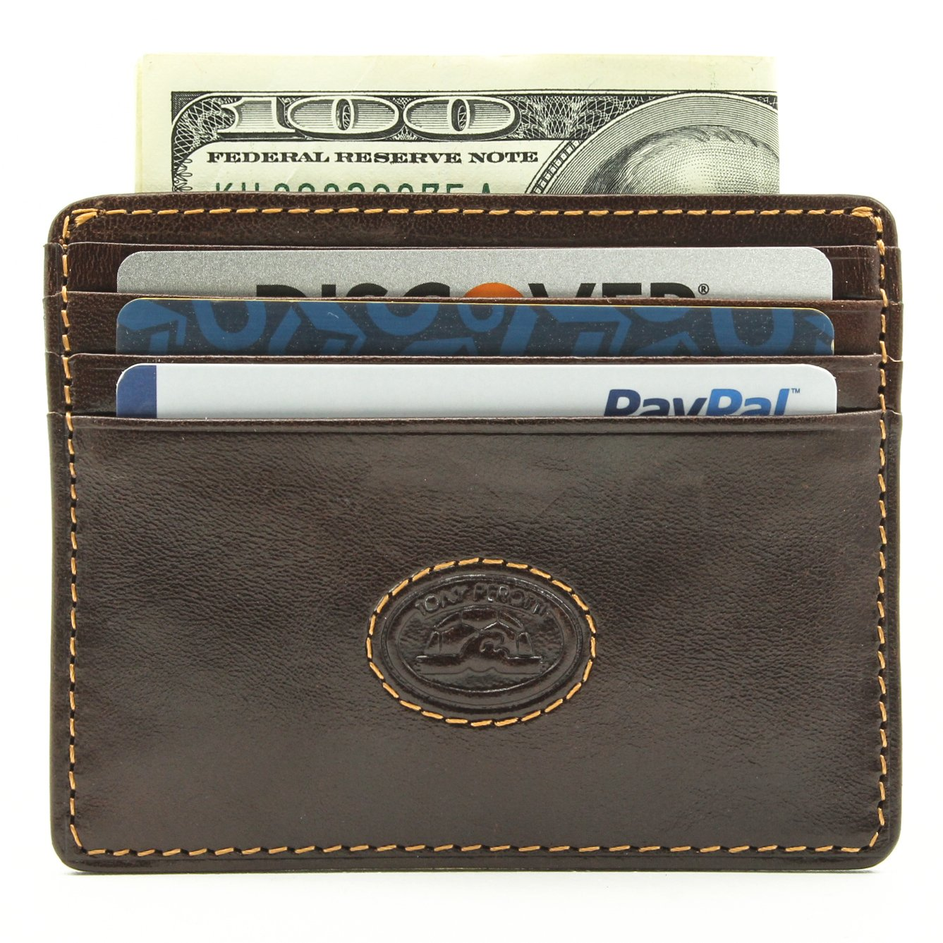 Tony Perotti Italian Bull Leather Thin Front Pocket Weekender Credit Card Holder Wallet, Brown