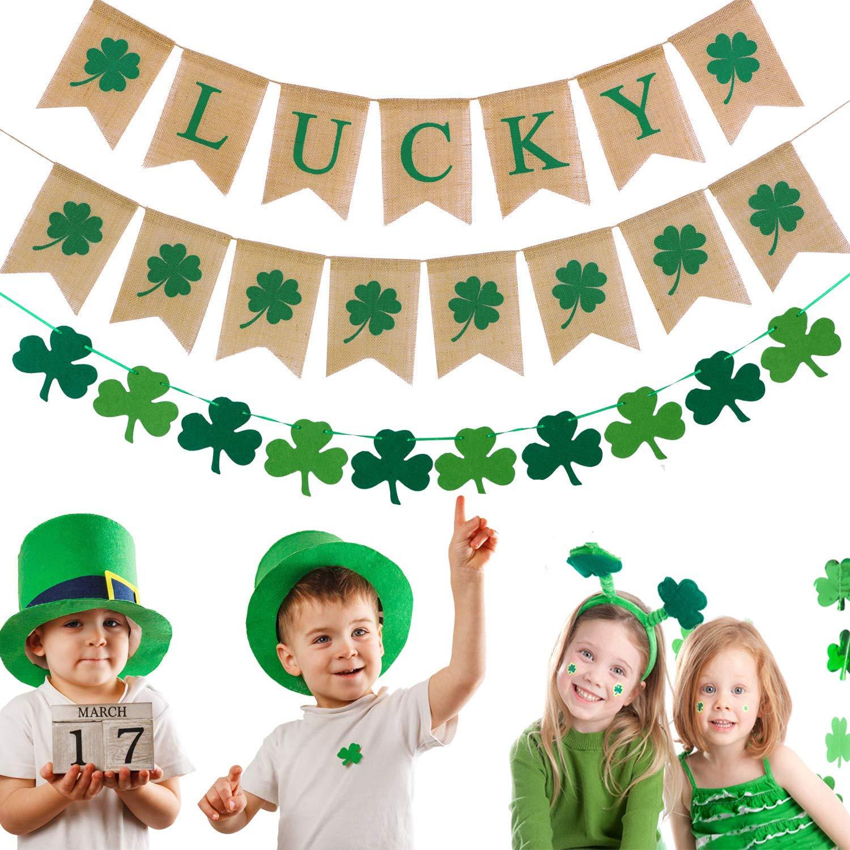 St 3 Pieces Four Leaf Felt Banner Patricks Day Banner Party Decoration- Irish Party Supplies Shamrock+Luck Burlap Bunting