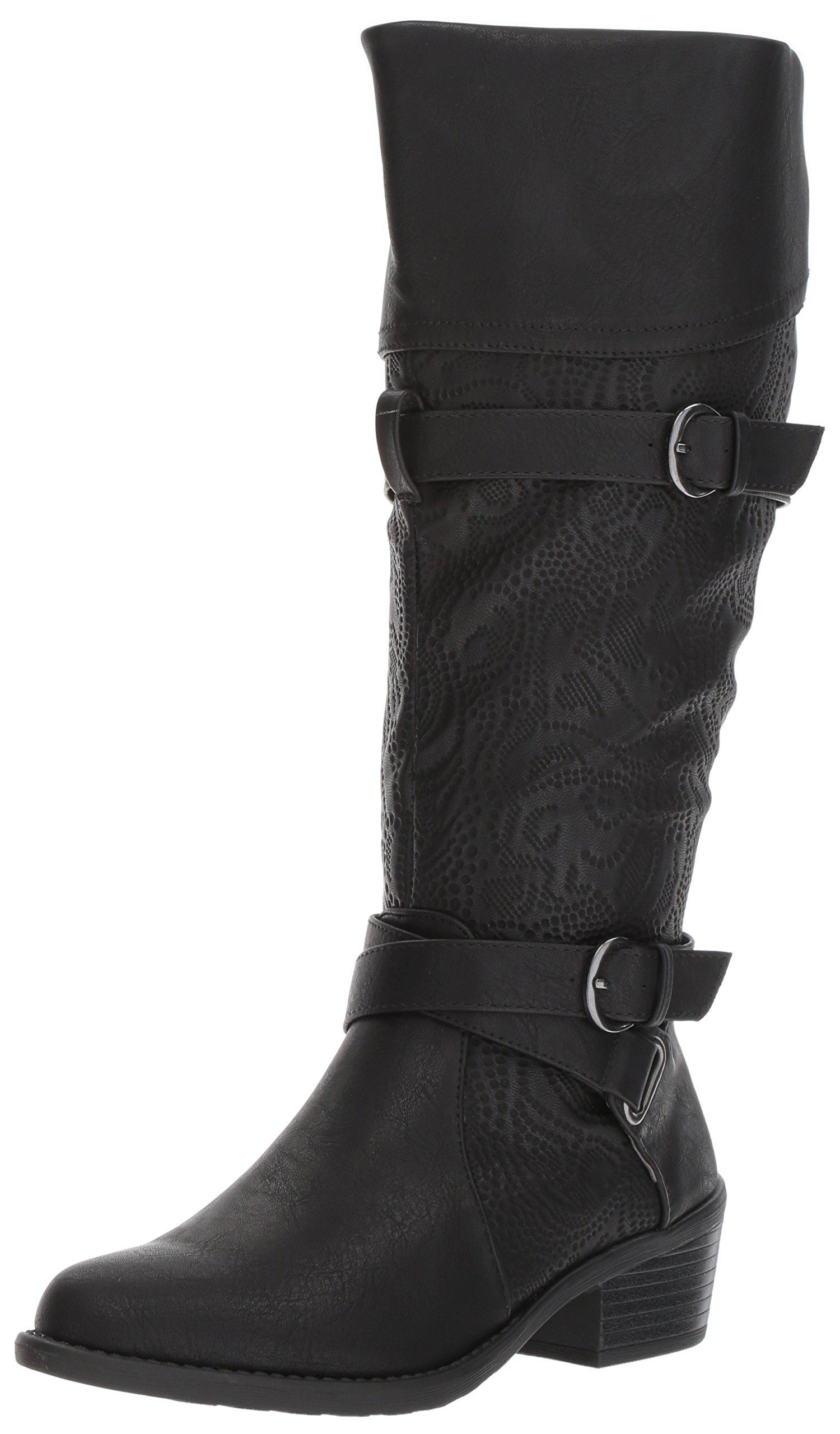 Easy Street Women's Kelsa Plus Harness Boot, Black/Embossed, 9.5 W US