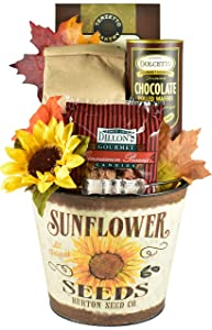 Shades of Autumn Gift Basket in Decorative Sunflower Bucket with Specialty Pecans, Muffin Mix, Salted Caramel Cookies and Cream Filled Wafer Rolls (Sunflower)