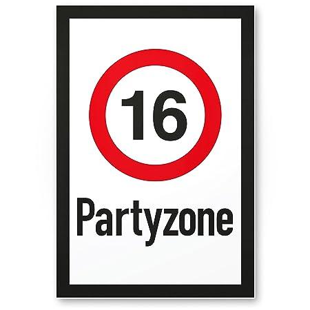 DankeDir!. 16 Party Zona – Cartel de plástico, Regalo 16. Cumpleaños, Regalo Idea Regalo de cumpleaños Decimosexto, cumpleaños ...