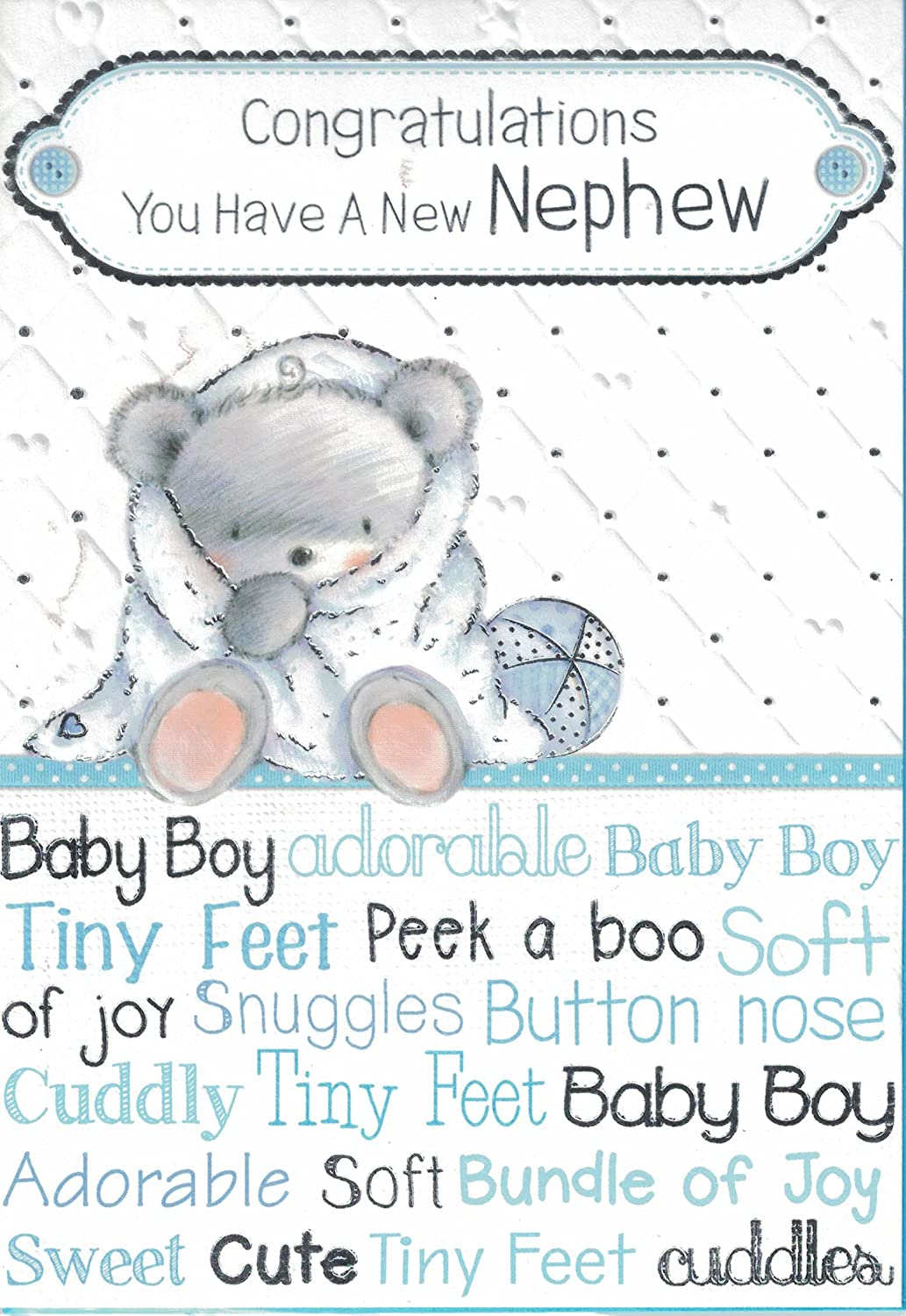 New Baby Boy Card ~ On The Birth Of Your Lovely Nephew ~ New Baby Nephew Card For The New Auntie /& Uncle.