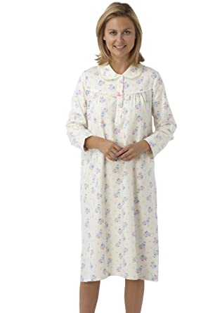 e3b4c544ad47 Ladies 100% Brushed Cotton Winceyette Long Sleeved Nightdress. Cream  Background With Pink or Blue Floral Design. Sizes 8-10 12-14 16-18 20-22  24-26  ...