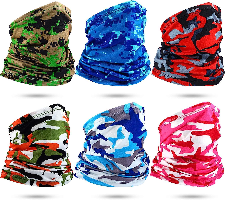 Satinior 6 Stücke Sommer Hals Bandana Uv Sonnenschutz Elastisch Halsmanschette Gesichtsschutz Atmungsaktiver Kühlschal Tarnfarbe Bekleidung