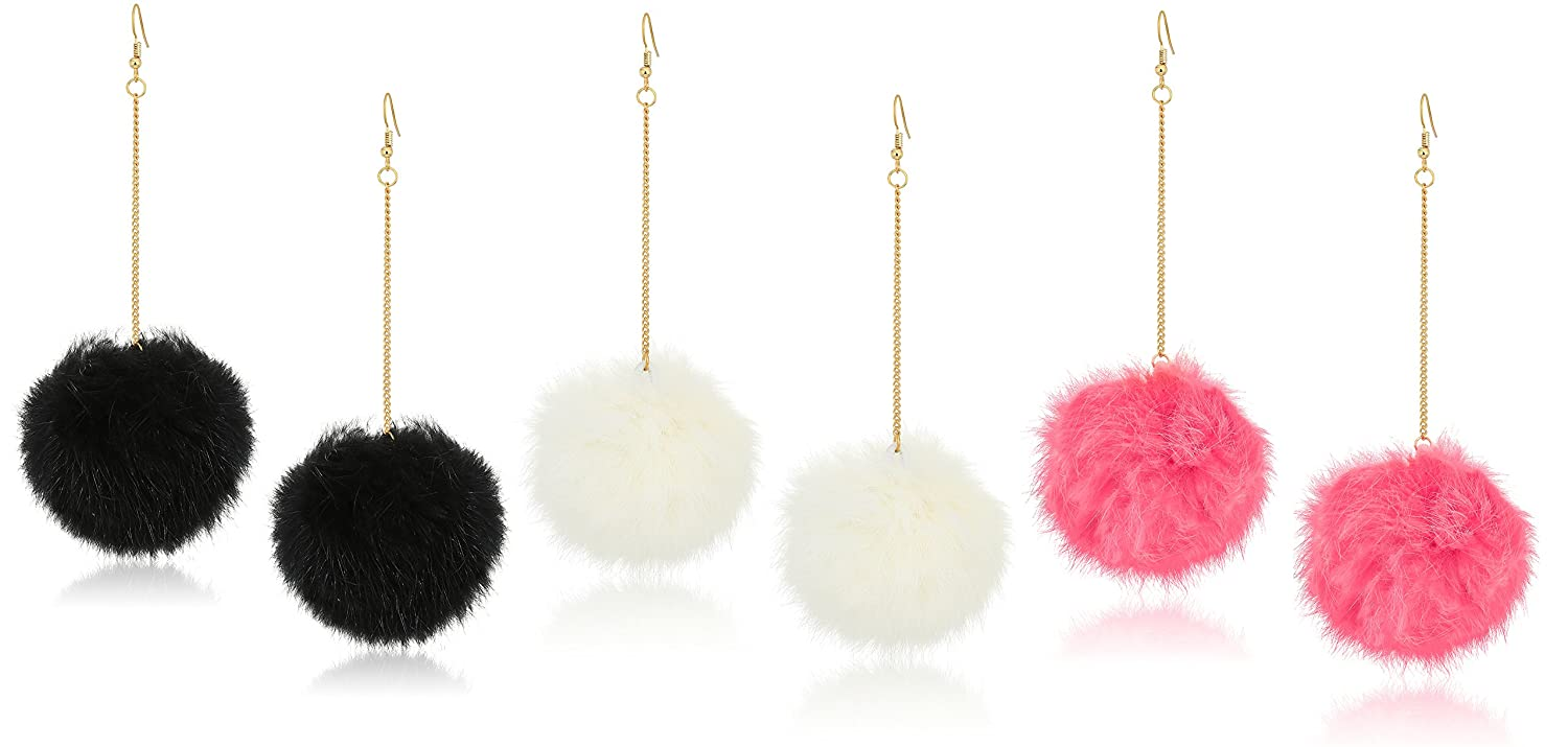 f6f82a692 Amazon.com: Expression Jewelry 3 Pack Pom Pom Earrings Set with 3 inch Gold  Dangle Chain - Black, White and Coral Earrings Set: Jewelry