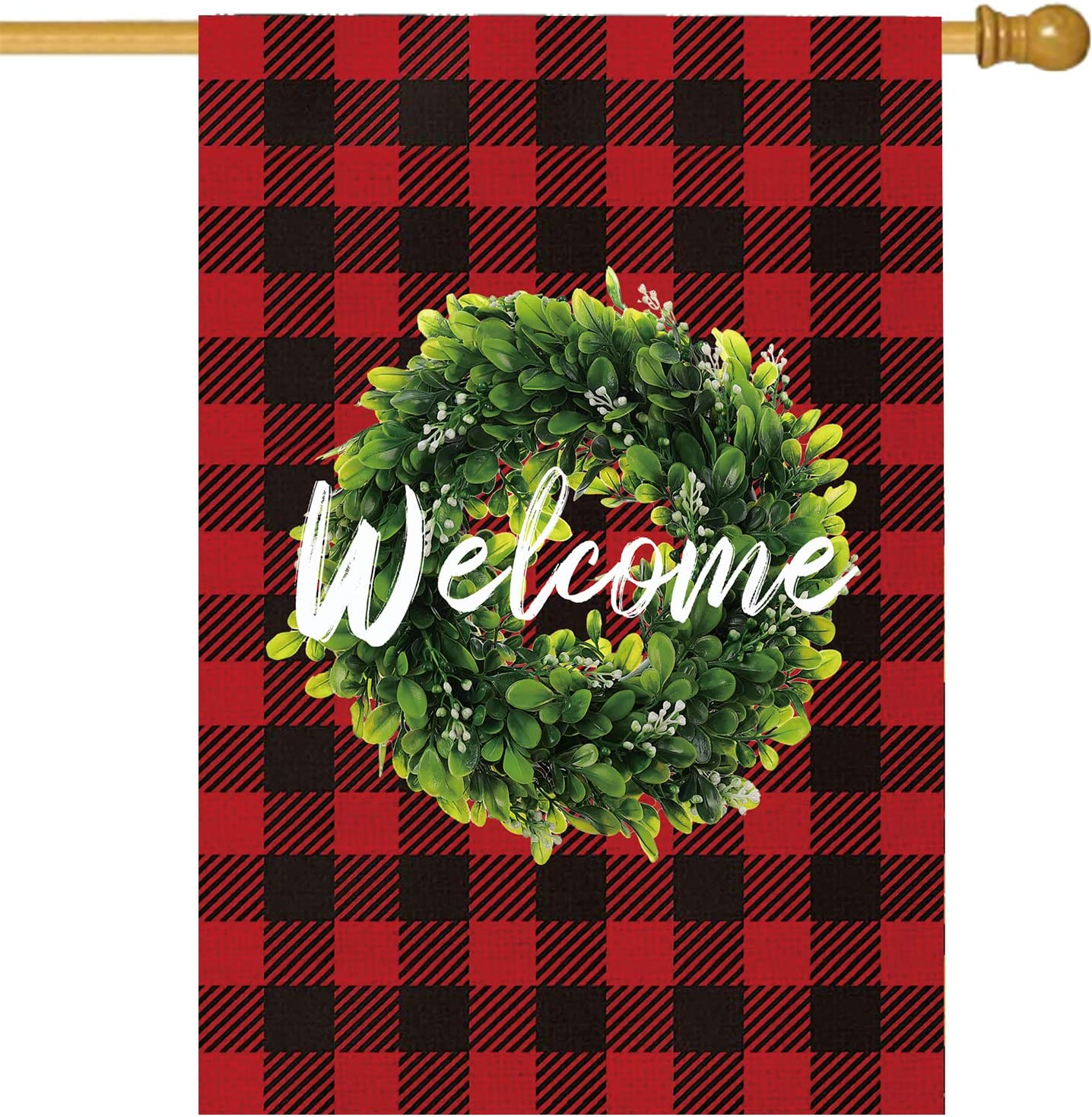 SANDEGOO Wreath Welcome Flag Double Side 28×45, Seasonal Buffalo Check Plaid Burlap Vertical Garden Flag Fade and Weather Resistant Outdoor Decorations for Home Yard Garden (Red)