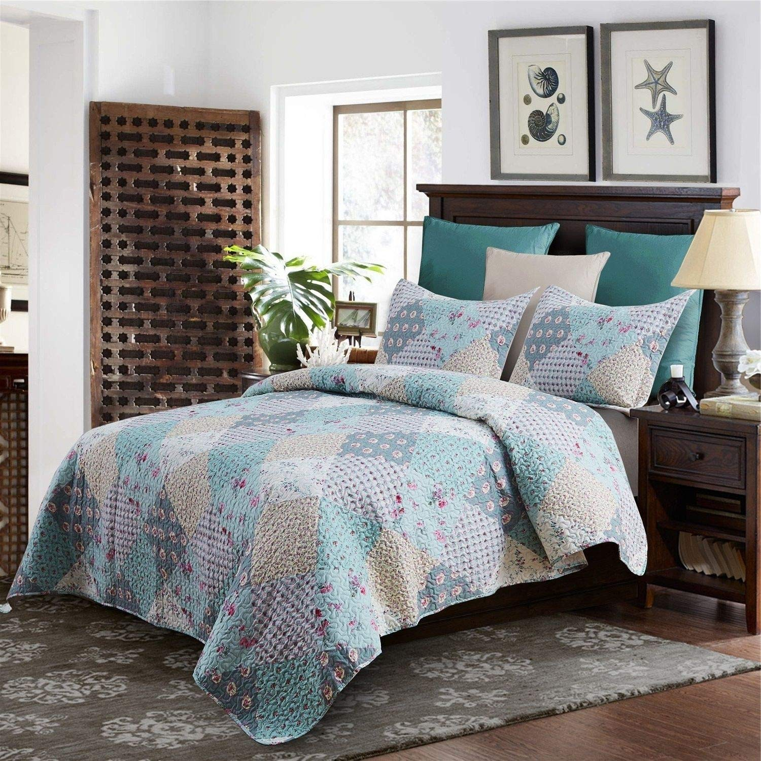 Floral Patchwork Quilt Set King Size - Teal, Diamonds Flowers Print - 3 Piece Bed Sets - French Country Farmhouse Style Reversible Bedding, Shabby Cottage Cabin Bedroom - Ultra Soft Microfiber