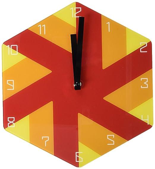 Refelx Non-Ticking Silent Acrylic Wall Clock, Large, Pinwheel Hexagon, Orange
