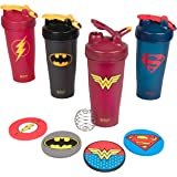 Blender Bottle DC Comics Set of Four 28 oz Bottles with Justice League Superheros - Superman, Wonder Woman, Batman, Flash - Classic Bottle with Loop and Blenderball - High Quality Coasters Included