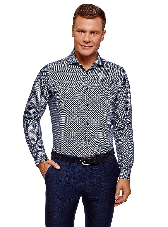 TALLA сm 39 / ES 46 / S. oodji Ultra Hombre Camisa Entallada con Estampado Gráfico