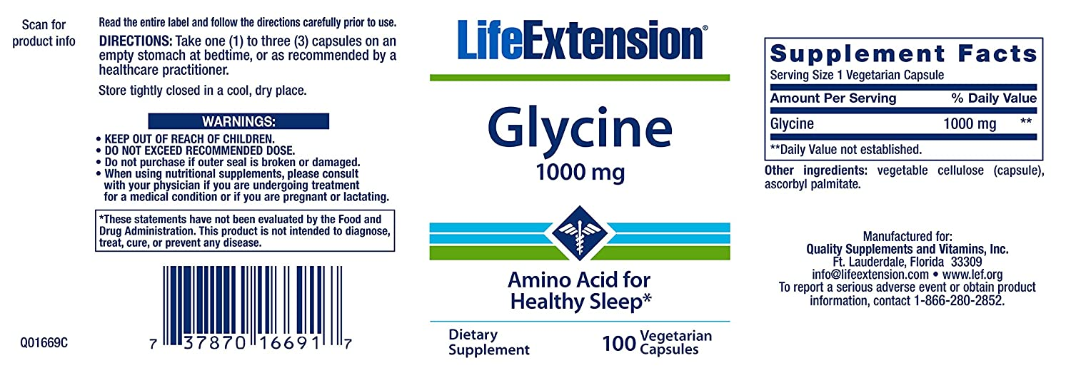 Life Extension Glycine Vegetarian Capsules, Mg, 100 Count by Life Extension: Amazon.es: Salud y cuidado personal