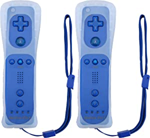 Poulep Wireless Controller for Wii Wii U Gamepad Console with Motion Plus (Deep Blue and Deep Blue)