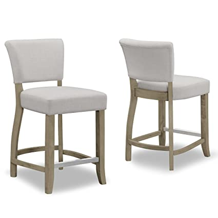 Stupendous Amazon Com Set Of 2 Aleck Beige Fabric Counter Stool With Ncnpc Chair Design For Home Ncnpcorg