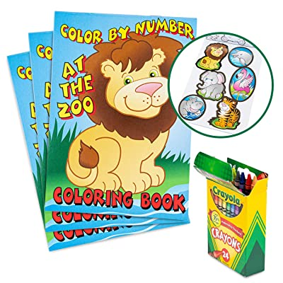 Favonir Party Favor Coloring Books And Crayons 12 Set – Color By Number Fun Animal Design For Kids Activity – Artistic Sticker Included - Ideal For School, Home And Birthday Party Goodies - 12 Books 24 Crayons: Toys & Games