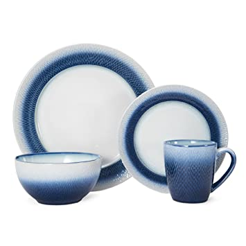 stoneware dinnerware sets with serving pieces blue white dinner uk eclipse piece round set