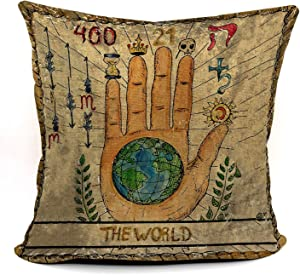 Tarot The World Palm Throw Pillow Case, Gift for Daughter, Sister, Gift for Astrology Lovers, Tarot Lovers,Girl Room Decor, College Dorm Decor, 18 x 18 Inch Linen Cushion Cover for Sofa Couch Bed
