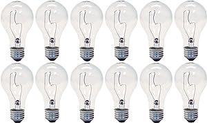 GE Lighting 16068 Crystal Clear 150-Watt A21 Light Bulb with Medium Base, 12-Pack