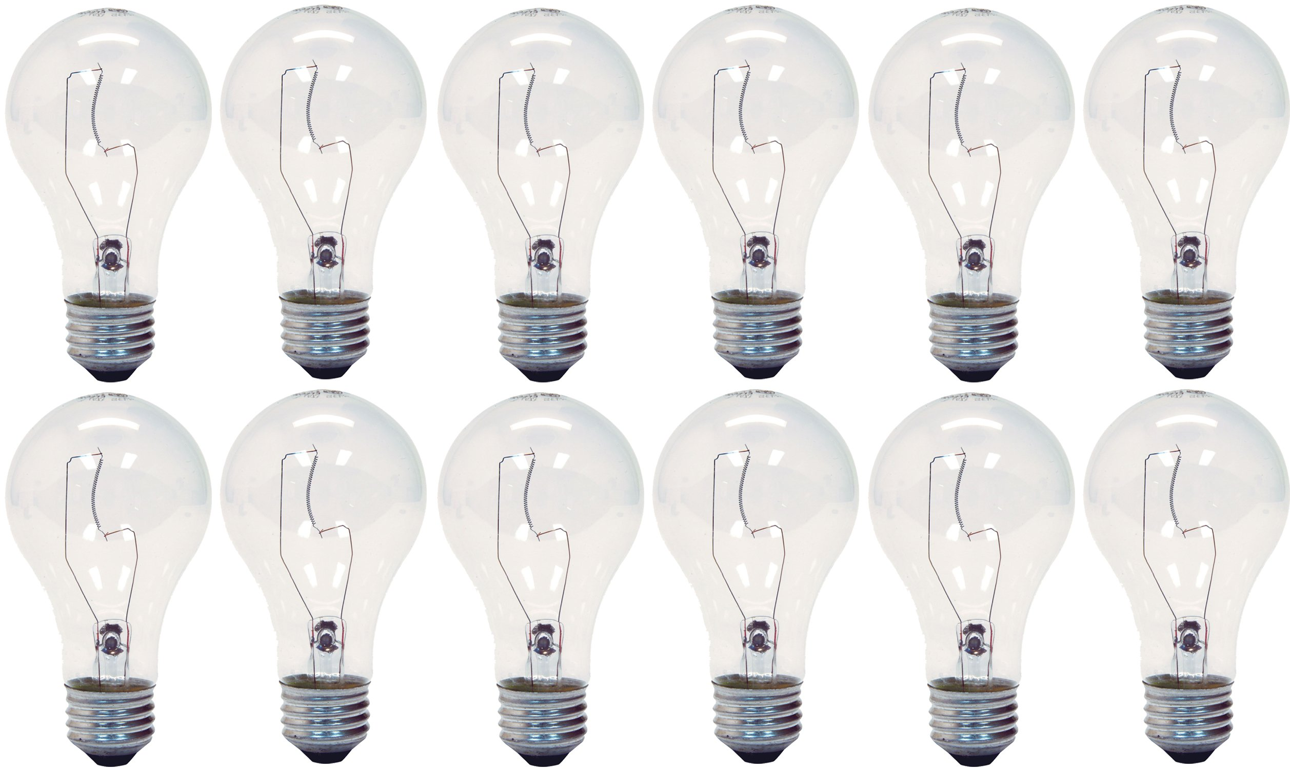 GE Lighting 16069 Crystal Clear 200-Watt 3780-Lumen A21 Bright Reader Light Bulb, 12-Pack