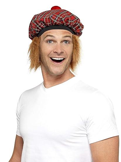 Amazon.com  Smiffys Men s Tam-O-Shanter Tartan Hat with Hair and Pom ... 80a6aa67d99