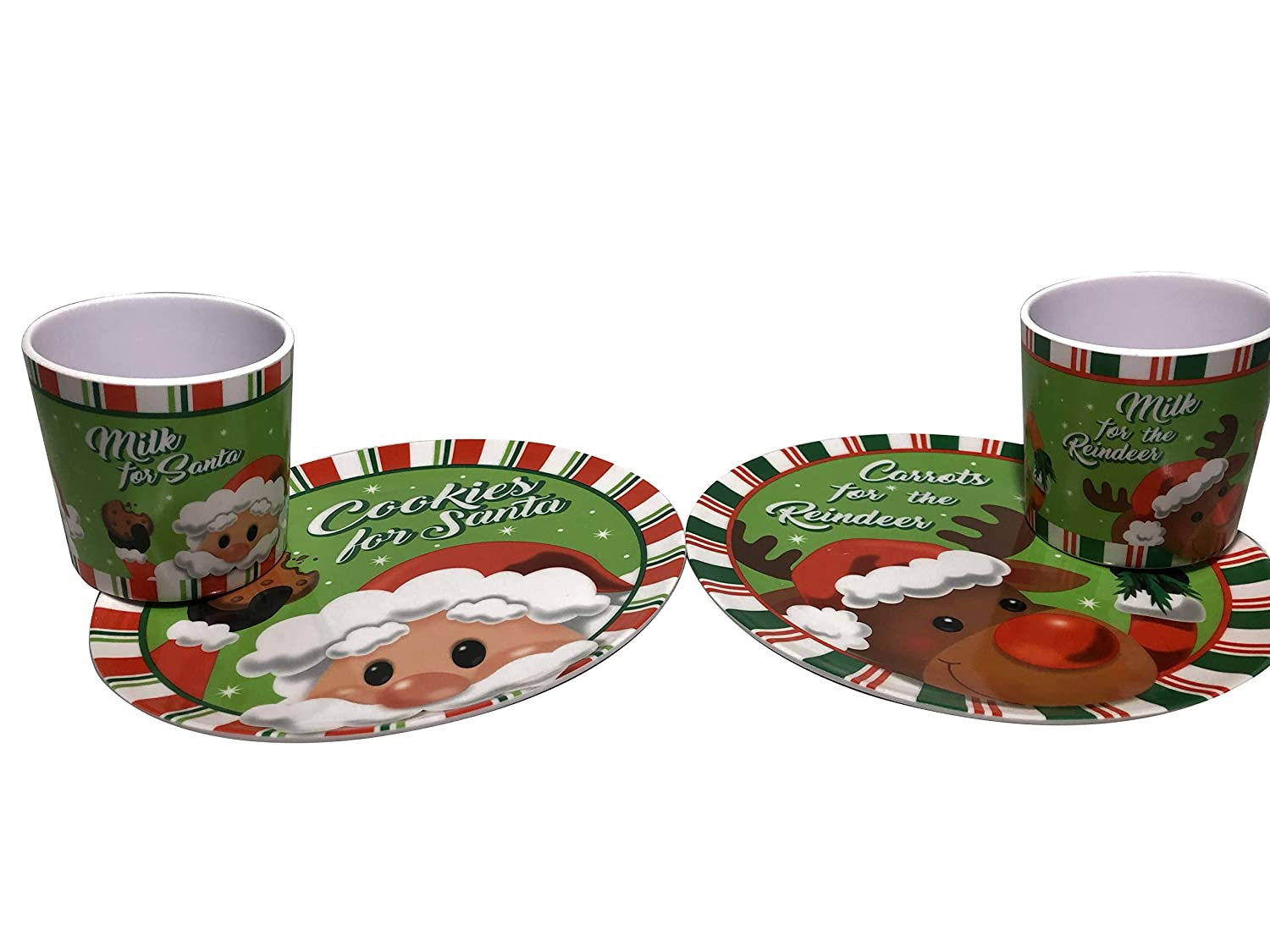 Set of 2 Plates and 2 Cups Cookie for Santa, Carrots for Reindeer. Milk for Santa and Reindeer