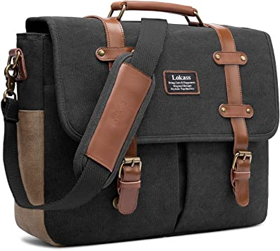 Single Shoulder Mens Bag Vintage Computer Bag Briefcase Mens Shoulder Bag Bags Color : Black, Size : S