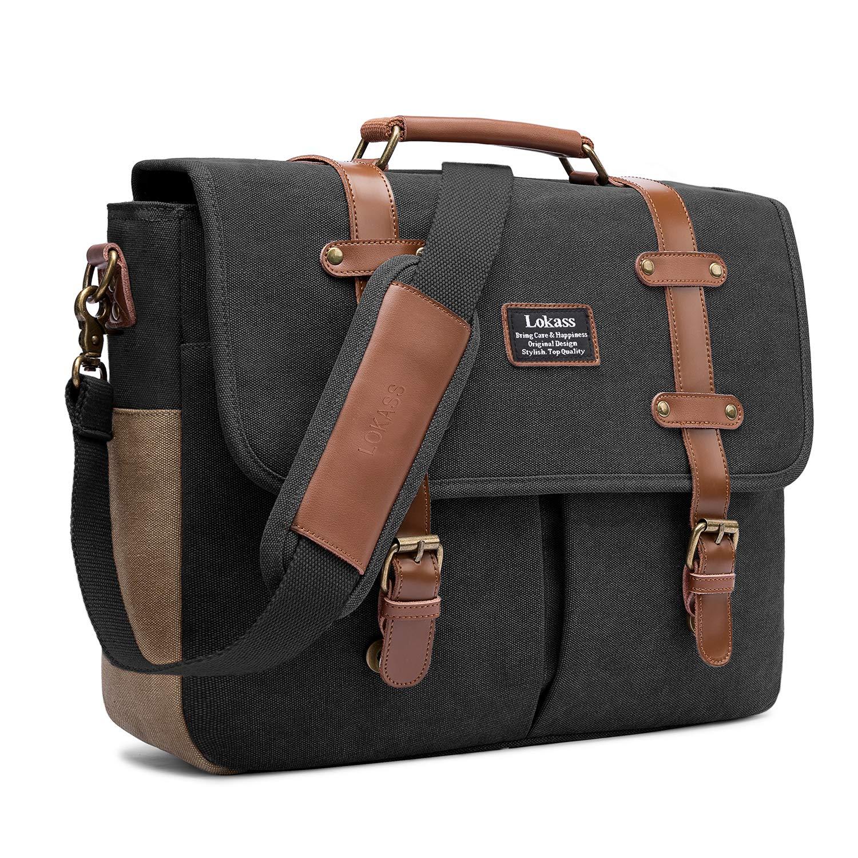 Mens Messenger Bag, 15.6 Inch Laptop Shoulder Bag Canvas Genuine Leather Business Briefcase Large Vintage Satchel College Bookbag Retro Brown Leather Handbag Crossbody Bag for Men, Black BRINCH