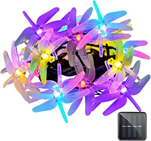 VMANOO Christmas Solar Lights 15.5ft 20 LED 8 Modes Multi Color Dragonfly Fairy String Light for Home Garden Outdoor Party Patio Xmas Landscape Decoration Valentines Gift