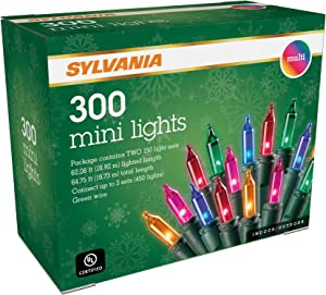 SYLVANIA Mini Christmas Lights, Multi, Two 150 Light Sets, Green Wire