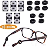 MOLDERP Silicone Eyeglasses Temple Tips Sleeve Retainer,Anti-Slip Round Comfort Glasses Retainers For Spectacle Sunglasses Reading Glasses Eyewear,10 pairs