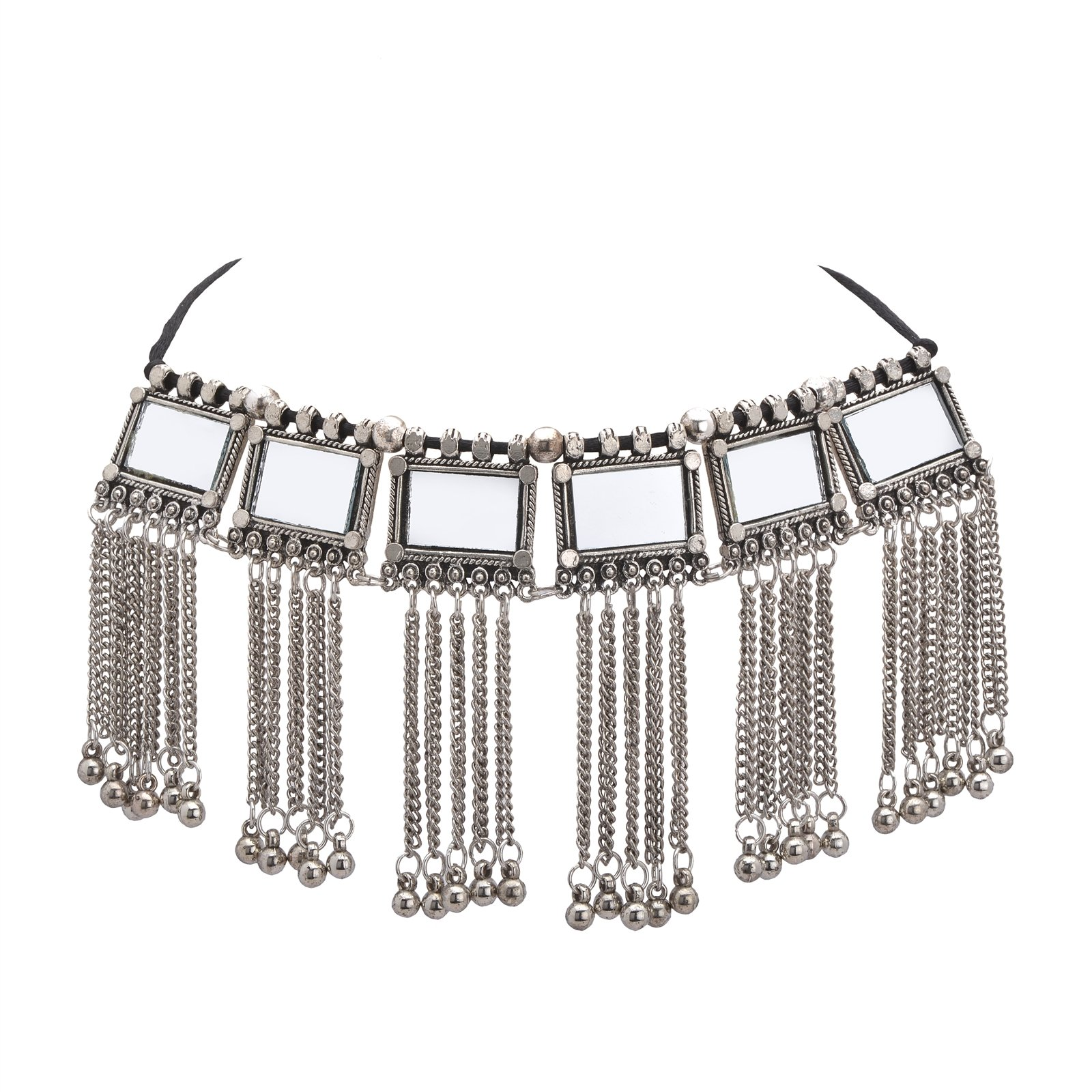 Oreleaa Necklace Choker Boho Style Mirror Oxidized Silver Trendy Tassel Pendant for Girls and Women