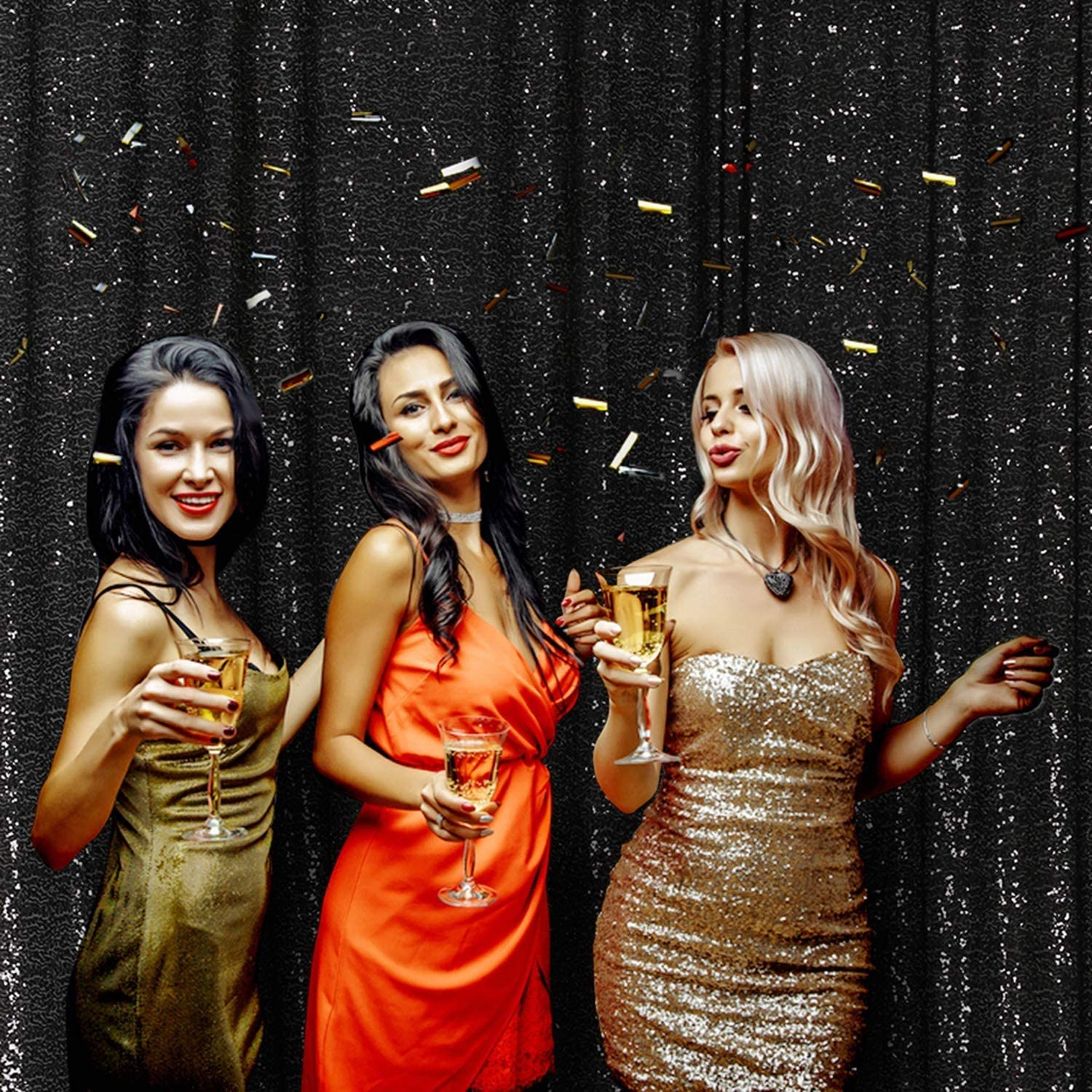 Shimmer Sequin Fabric Photography Backdrop Glitter Background Sequence Curtain (6Ft × 8Ft, Black)
