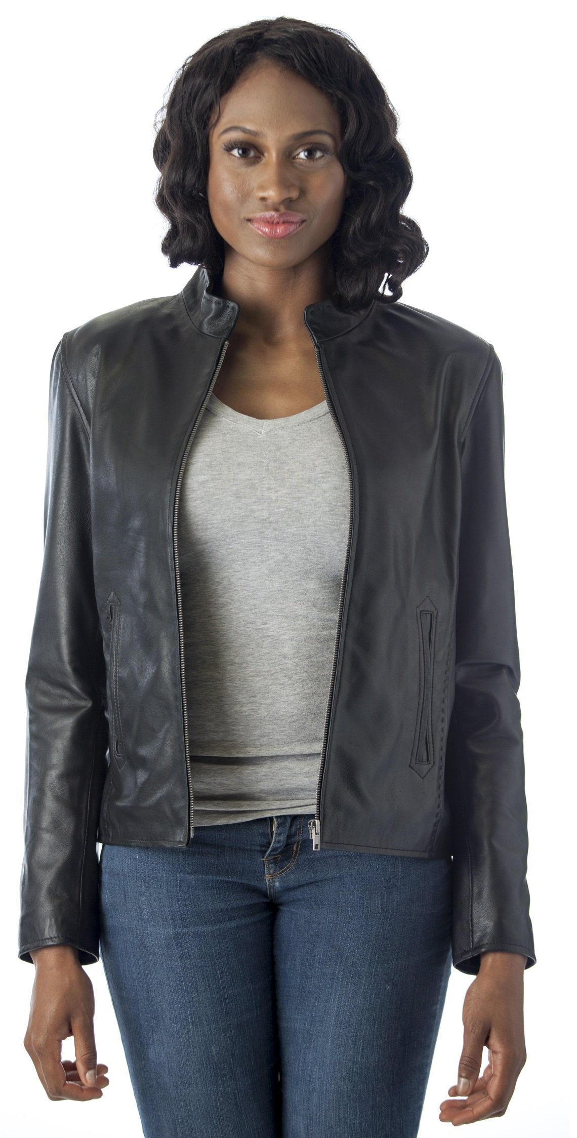 REED Women's Moto style Real Leather Jacket (Large, Black) by REED