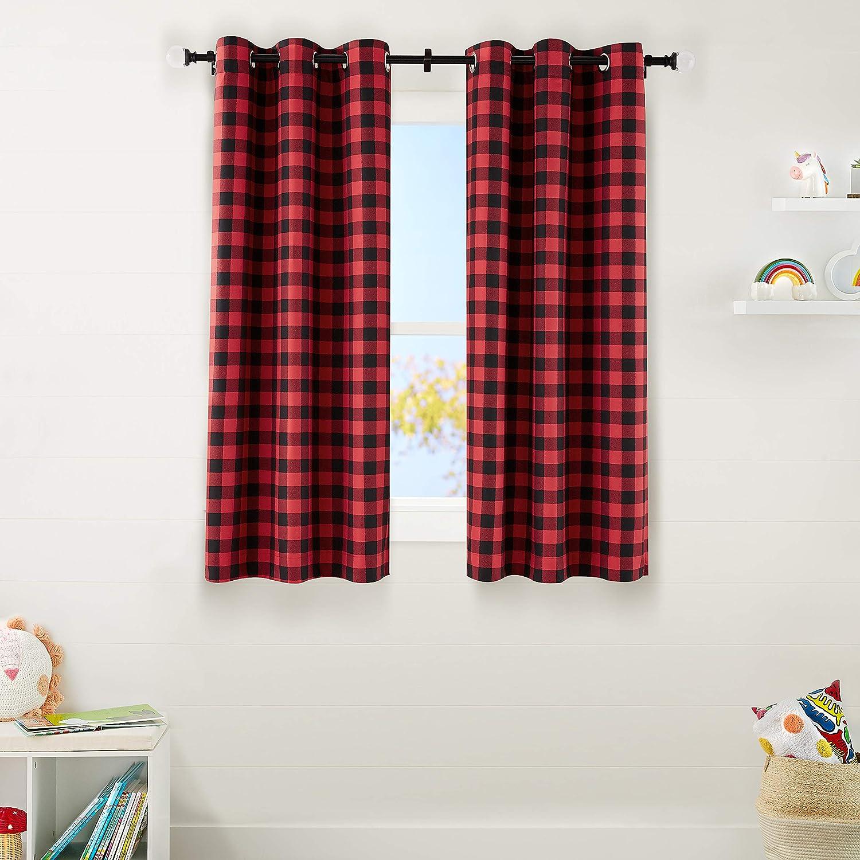 "AmazonBasics Kids Room Darkening Blackout Window Curtain Set with Grommets - 42"" x 63"", Red Buffalo Plaid"