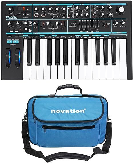 Novation BASS STATION II Sintetizador de teclado analógico USB MIDI de 25 teclas + bolsa de transporte