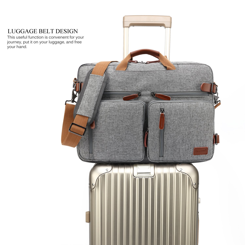 CoolBELL Convertible Backpack Messenger Bag Shoulder Bag Laptop Case Handbag Business Briefcase Multi-Functional Travel Rucksack Fits 15.6 Inch Laptop for Men/Women (Grey) by CoolBELL (Image #4)