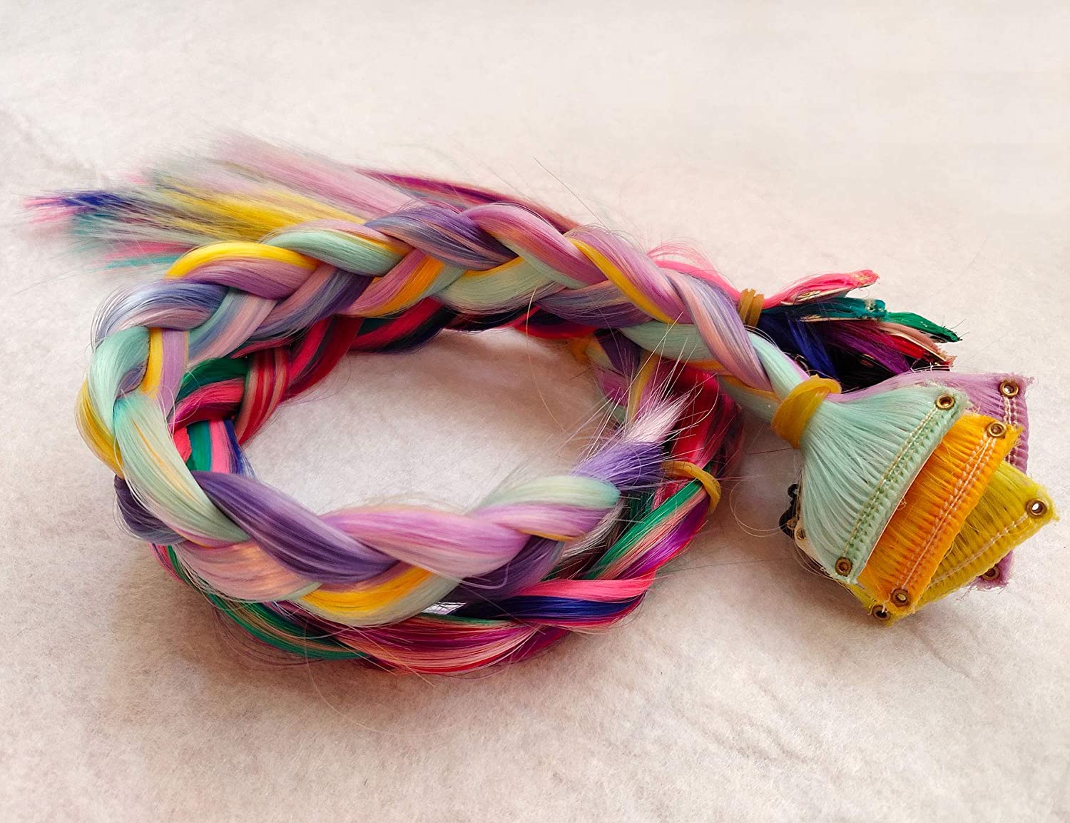 BINIHA Fashion Girls Hair Accessories Clip in//On Colored Hair Extension for Amercian Girls and Dolls Party Hihlights