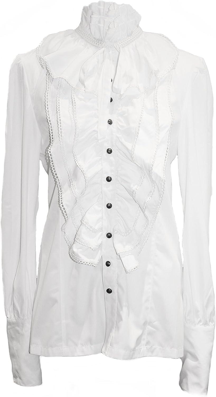 Punk Rave Gótico color blanco alzapaños (Camiseta Camisa inoxidable Camisa estilo victoriano, Festive Weiß 58: Amazon.es: Ropa y accesorios