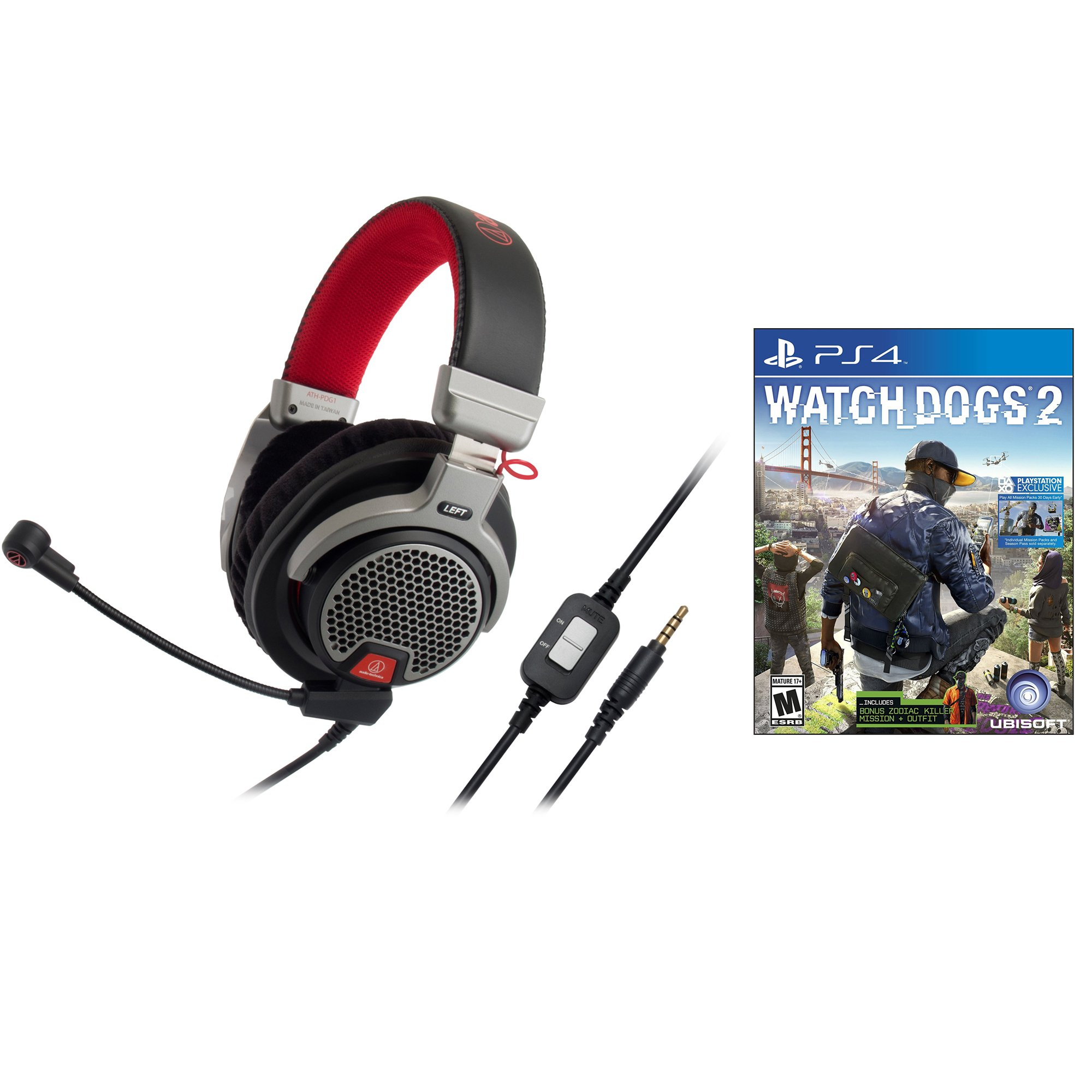 Audio-Technica ATH-PDG1 OpenBack Gaming Headset w Watch Dogs 2 for Playstation 4