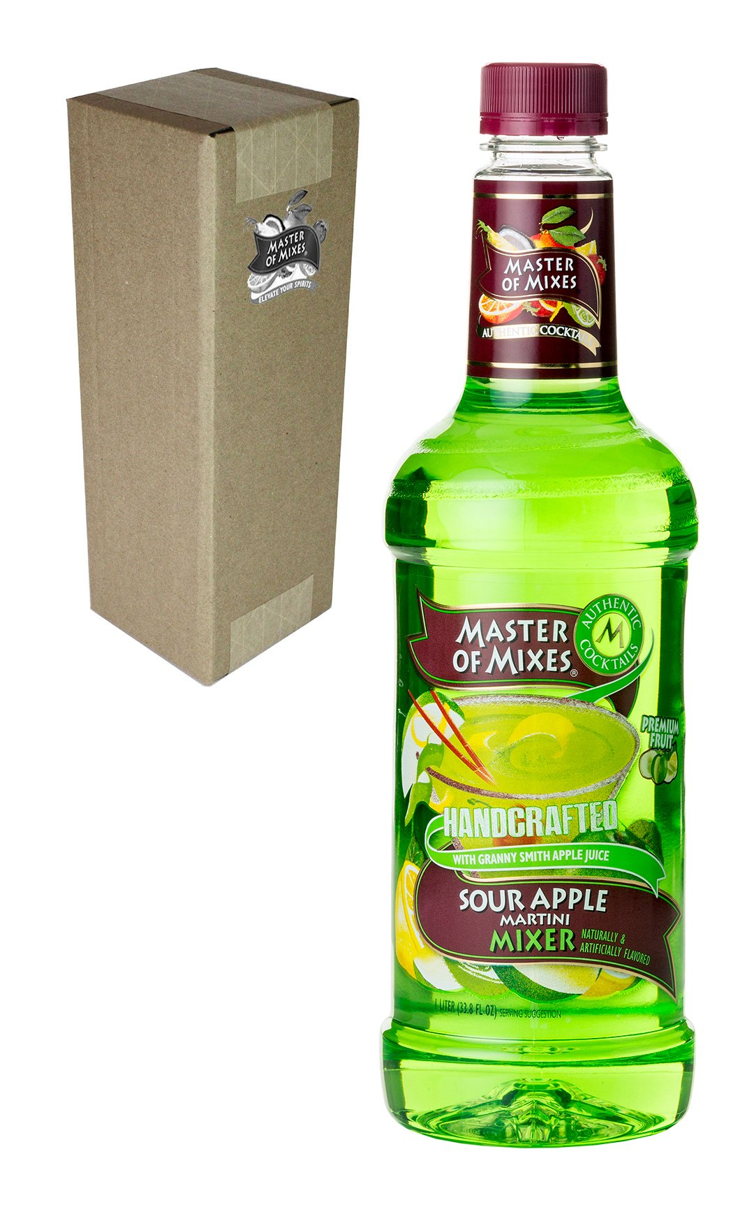 Master of Mixes Sour Apple Martini Drink Mix, Ready To Use, 1 Liter Bottle (33.8 Fl Oz), Individually Boxed by Master of Mixes