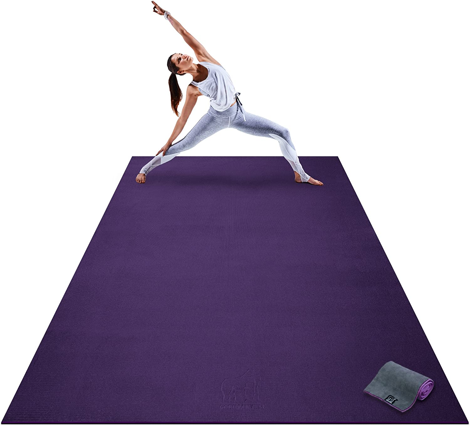 Premium Extra Large Yoga Mat - 9 x 6 x 8mm Extra Thick & Comfortable, Non-Toxic, Non-Slip, Barefoot Exercise Mat - Yoga, Stretching, Cardio Workout ...